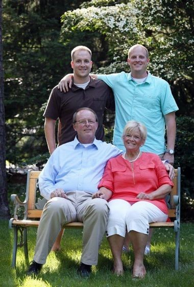 Gary and Janie Shunk, of Howell, agreed to pay the equivalent of four years' tuition at a state school when their sons, Douglas, left, and Craig, attended college. Douglas, now 29, went to Montclair State University, while Craig, now 31, attended Rutgers University. (David Gard)