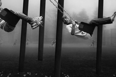 """""""The Chase"""" is one of the photographs in a collection called """"The Playground Series,"""" created by New Zealander Deb Young and Francisco Diaz, who lives in Montclair."""