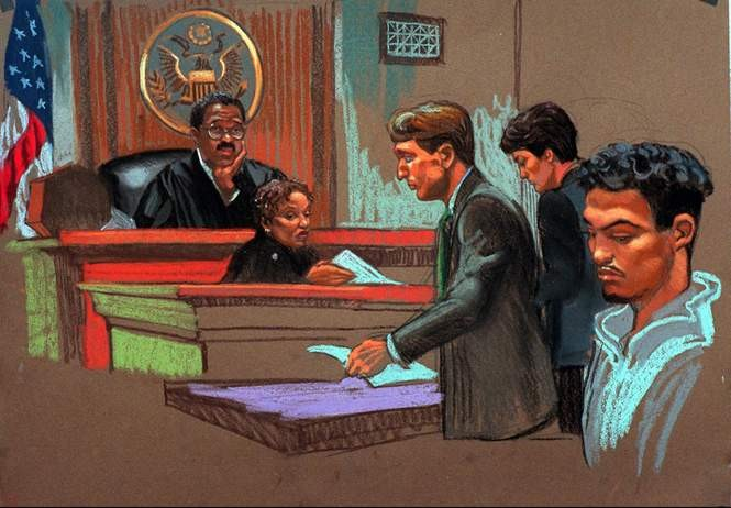 Anthony Estevez, right, apears in court on Thursday, Sept. 25, 1997 in this artist rendering.