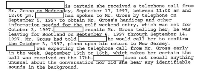 An excerpt from a Federal Bureau of Investigation investigatory record from the search for Nelson Gross.