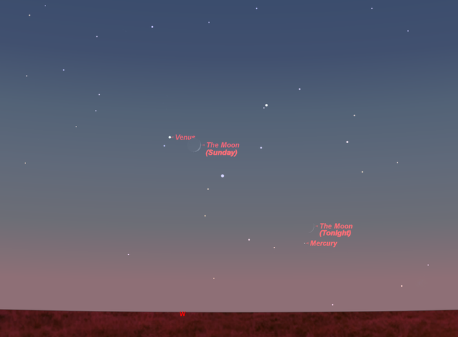 Tonight look for Mercury and the crescent moon together in the western sky after sunset. Tomorrow night the moon is near Venus.