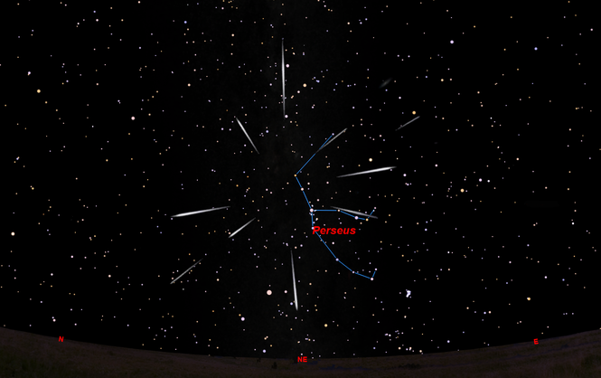 Meteors will come from the constellation Perseus but can appear in any part of the sky.