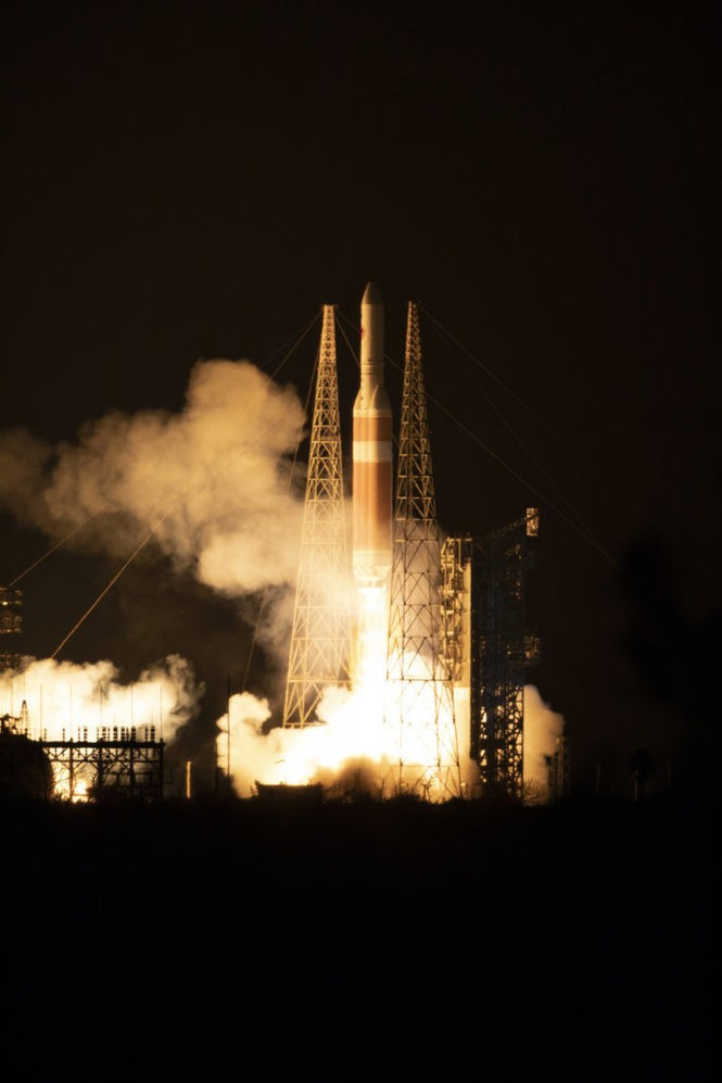 At Cape Canaveral Air Force Station's Space Launch Complex 37, the Delta IV Heavy rocket with NASA's Parker Solar Probe, lifts off at 3:31 a.m. EDT on Sunday, Aug. 12, 2018. The spacecraft will perform the closest-ever observations of a star when it travels through the Sun's atmosphere, called the corona.