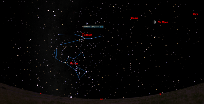 Comet Wirtanen will be in the constellation Taurus near the Pleiades star cluster on Dec. 16.