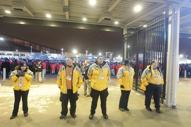 Security guards block an exit as crowds wait to board NJ Transit trains at MetLife Stadium after the Super Bowl between the Denver Broncos and Seattle Seahawks. (John O'Boyle   Star-Ledger file photo)