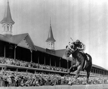 Secretariat, with Jockey Ron Turcotte up, crosses the finish line alone to win the Kentucky Derby on May 5, 1973. (AP Photo/File)