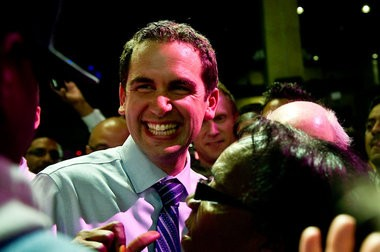 Steve Fulop's first political campaign ended badly: he lost a 2004 primary to then-Rep. Bob Menendez by 69 points. Here he is in happier times, after winning the Jersey City mayor's race on May 14, 2013. Lauren Casselberry | The Jersey Journal