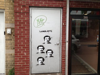 """The """"Lanolin?"""" tag found on Avenue C and 26th Street. John Ambrosio/The Jersey Journal"""