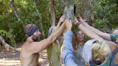 """Tony Vlachos and other survivors celebrate an upcoming auction on the April 30 episode of 'Survivor: Cagayan."""" CBS photo"""