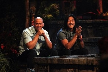 """Tony Vlachos and Woo Hwang await the vote results during the """"Survivor: Cagayan"""" finale on May 21, 2014. CBS photo"""