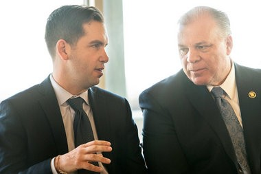 The two Steves: Fulop, left, the Jersey City mayor, and Sweeney, the state senate president, at a rally to halt Liberty State Park development plans. Both men are likely to run for the Democratic nomination for governor in 2017. Reena Rose Sibayan | The Jersey Journal
