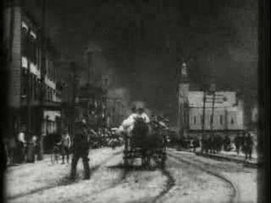 A screenshot of Thomas Edison's film footage of the Bayonne Standard Oil Fire in 1900.