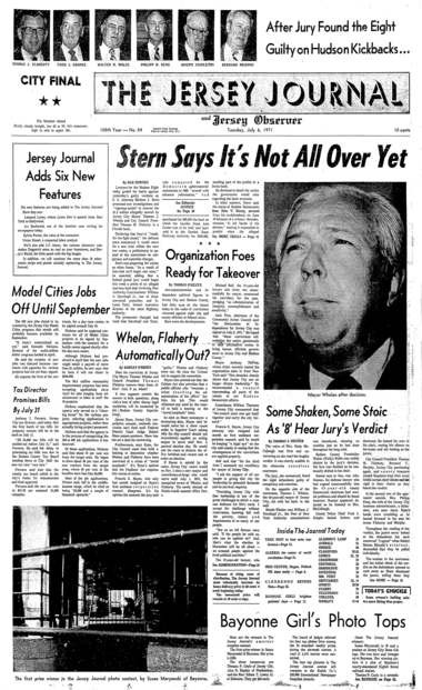 The July 6, 1971, front page of The Jersey Journal, featured extensive coverage of the corruption convictions of Jersey City Mayor Thomas J. Whelan and seven other public officials, collectively known as the Hudson 8.