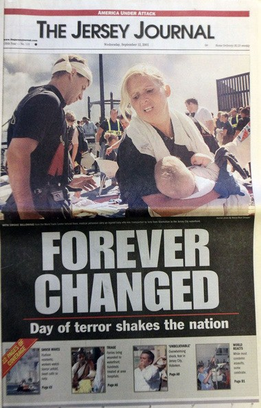 The Jersey Journal front page from Sept. 12, 2001.