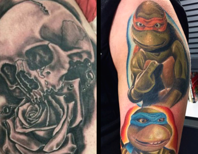 Two tattoos inked by artists at Rorschach Gallery in Edison. (Courtesy of Rorschach Gallery)