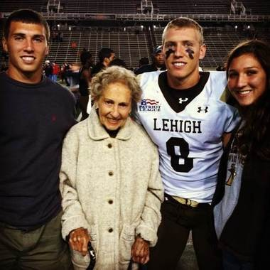 Ryan Spadola at a Lehigh game with his brother, Randy; grandmother, Gloria Madge; and sister, Heather.