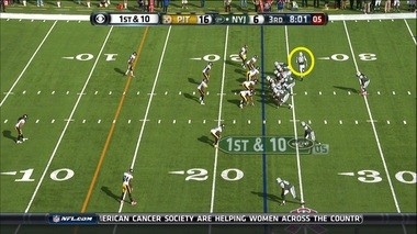 The Jets sent tight end Konrad Reuland in motion to Geno Smith's right before the snap.