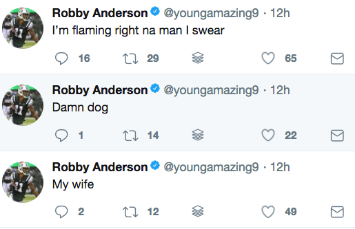 Jets receiver Robby Anderson sent out these three tweets the morning he was arrested in South Florida.