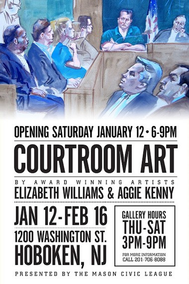 """""""The Courtroom Art"""" exhibition, running through Feb. 16 at the 1200 Gallery in Hoboken"""