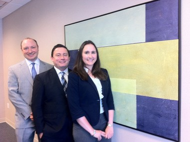 Segal McCambridge Singer & Mahoney attorneys, from left to right, Dwight Kem, David Kostus, and Stephanie DeVos. Kate Kowsh/For The Jersey Journal