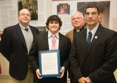 AT THE SPIRIT AWARDS are from left Jim DeAngelo, principal of Saint Peterâs Prep, Jake Marciniak, a senior who won the award, Rev. Kenneth Boller, SJ, president of the school, and Anthony Locricchio, dean of student life.