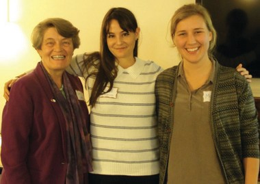 Members of the network working to educate people about sex trafficking are, from left, Sister Patricia Daly, Michelle Guelbart and Margot Morris, a Tri-Cri intern.