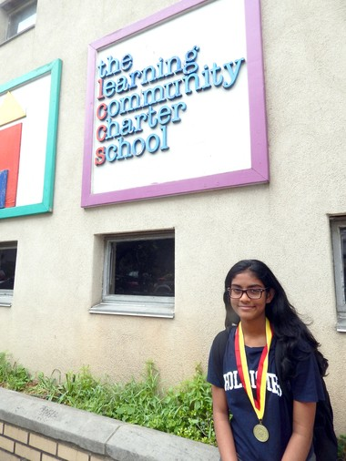 Damini Varghese, a seventh grader at Jersey City's Learning Community Charter School.