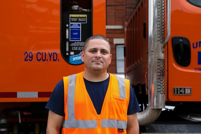 Ray Machado poses for a photo after a shift driving a garbage truck for the the Union City Department of Public Works. A native of Cuba, Machado's reggaeton group Maxima Alerta is being reanimated. Courtesy of Chad Servidio