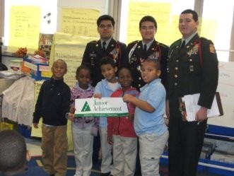 Trenton High School JROTC cadets volunteer at Martin Luther King Jr. Elementary School in Trenton.