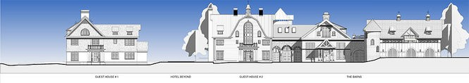 Rendering, from left, Guest House 1, Guest House 2 and The Barns at The Ryland Inn.