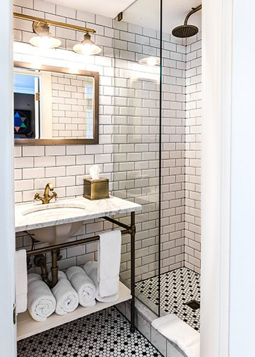 One of the renovated bathrooms at Logan Inn.