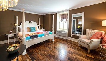Newly renovated bedroom at Logan Inn in New Hope, Pa.