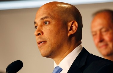 Newark Mayor Cory Booker at the press conference in June announcing his candidacy for the U.S. Senate seat once held by Frank Lautenberg.