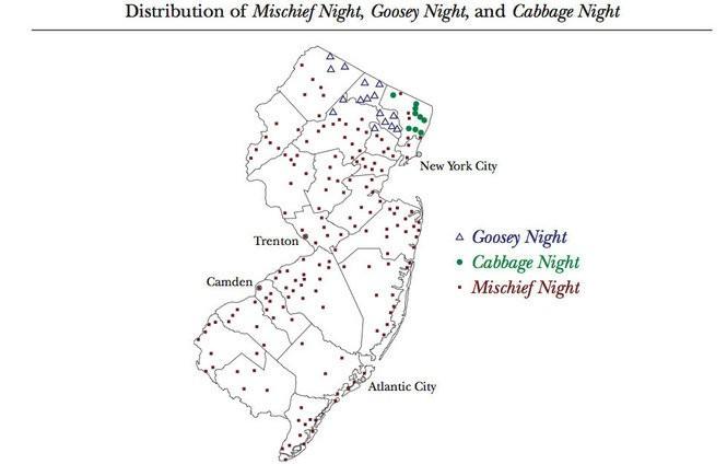 Mischief night, goosey night? Sub, Hoagie? Nine maps showing