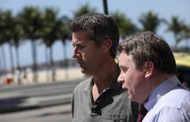 David Goldman, of Tinton Falls, left, and U.S. Rep. Chris Smith speak to the press in Rio de Janeiro during their battle to have Goldman's son, Sean, returned to the U.S.