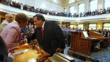 Senator Shirley Turner (D-Mercer)shakes hands with Governor Chris Christie in this 2010 file photo. Turner's bill to move the general election to October was approved by the Senate's state government committee today.