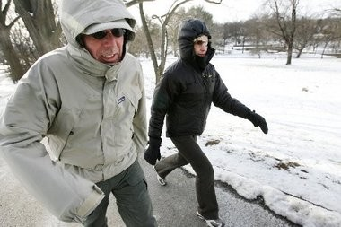Don and Marlene Krautheim of West Orange don't let cold temperatures deter them from their daily walk in this 2009 photo.