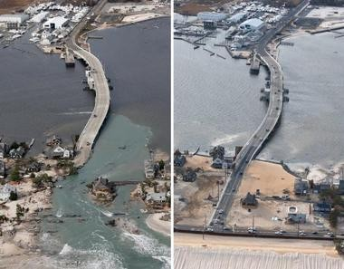 The Atlantic Ocean has breached the Ocean County barrier island, left, in three places in the borough of Mantoloking, and has created a new inlet at the base of the Mantoloking Bridge. This is the Mantoloking Bridge 100 days later.