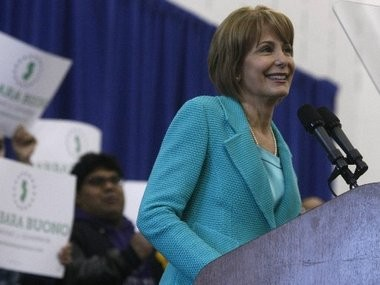 State Sen. Barbara Buono, pictured at her Feb. 2 campaign kickoff rally, recently claimed that New Jersey's pension and health benefits reform eliminated collective bargaining for health benefits.