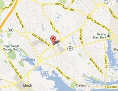 A map view of Route 70 in Brick, where a woman texting while driving triggered a three-car accident.