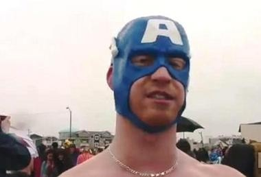 This masked man was among the swimmers who braved the chilly Atlantic Ocean at the annual Polar Bear Plunge in Sea Isle City.