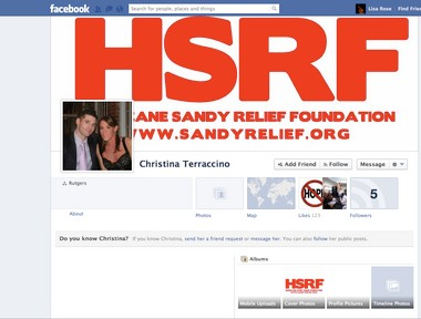 The Facebook page for the Hurricane Sandy Relief Foundation. The couple who run the foundation, John Sandberg and Christina Terraccino of Sparta, is being sued by the state for violating consumer fraud and charity laws.