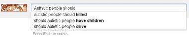 In a screen grab taken Monday, most -- but not all -- the hostile suggestions about autism have vanished.