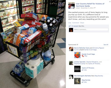 A grocery cart loaded up with supplies to be delivered from South Carolina to New Jersey for Hurricane Sandy relief.