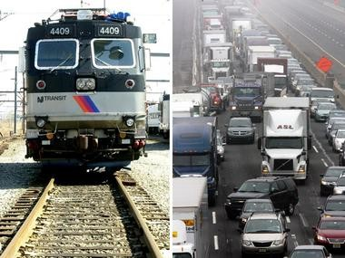 The U.S. Census Bureau has released new statistics on commuting trends. Pictured is an NJ Transit commuter train, left, and a traffic jam on the New Jersey Turnpike in Mercer County, right.