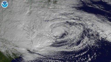 This satellite image made from the National Oceanic and Atmospheric Administration shows Hurricane Sandy as its centered off the East Coast on Oct. 29.