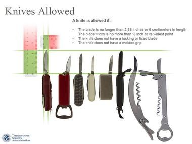 The TSA plans to permit knives like these as carry-on items on airliners starting April 25.