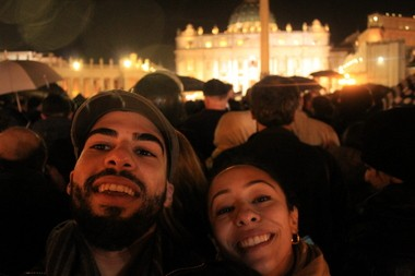 Ibrahim Mahdi and a classmate snap a photo of themselves outside of the Vatican. The New Jersey City University students got lucky on their trip to Rome and saw the new pope elected.