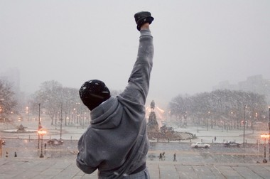 A scene from the first Rocky movie. The house featured in Rocky II is on sale in Philadelphia.