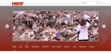 The home page for the Hurricane Sandy Relief Foundation, a charity that is being sued by the state for fraud.